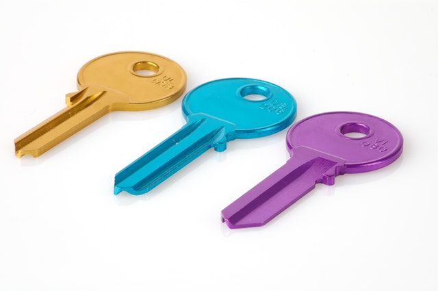 Three colourful keys